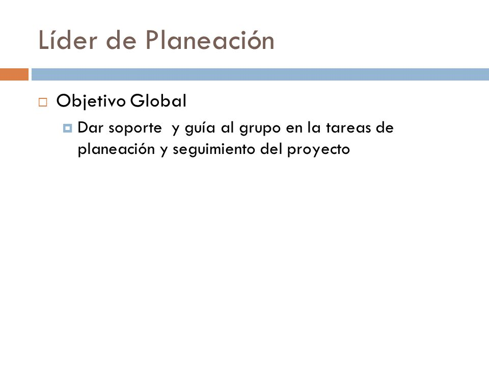 Líder de Planeación Objetivo Global