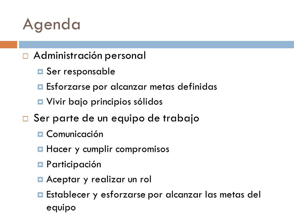 Agenda Administración personal Ser parte de un equipo de trabajo