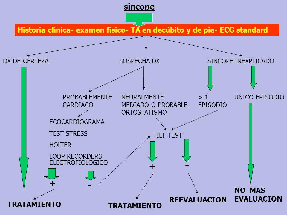 sincopeHistoria clínica- examen físico- TA en decúbito y de pie- ECG standard. DX DE CERTEZA. SOSPECHA DX.