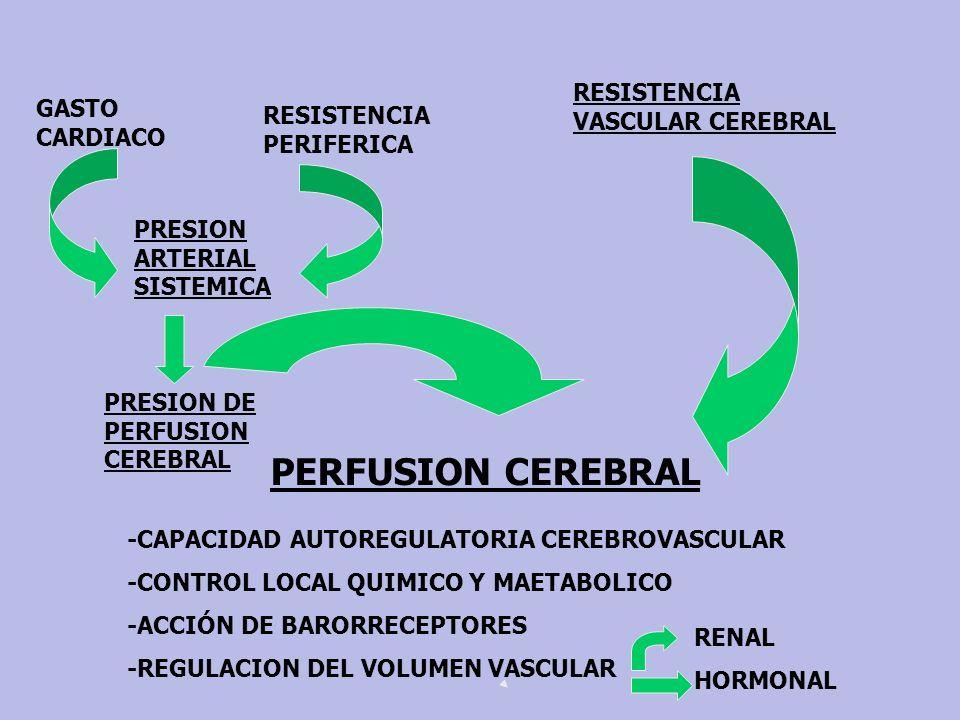 PERFUSION CEREBRAL RESISTENCIA VASCULAR CEREBRAL GASTO CARDIACO