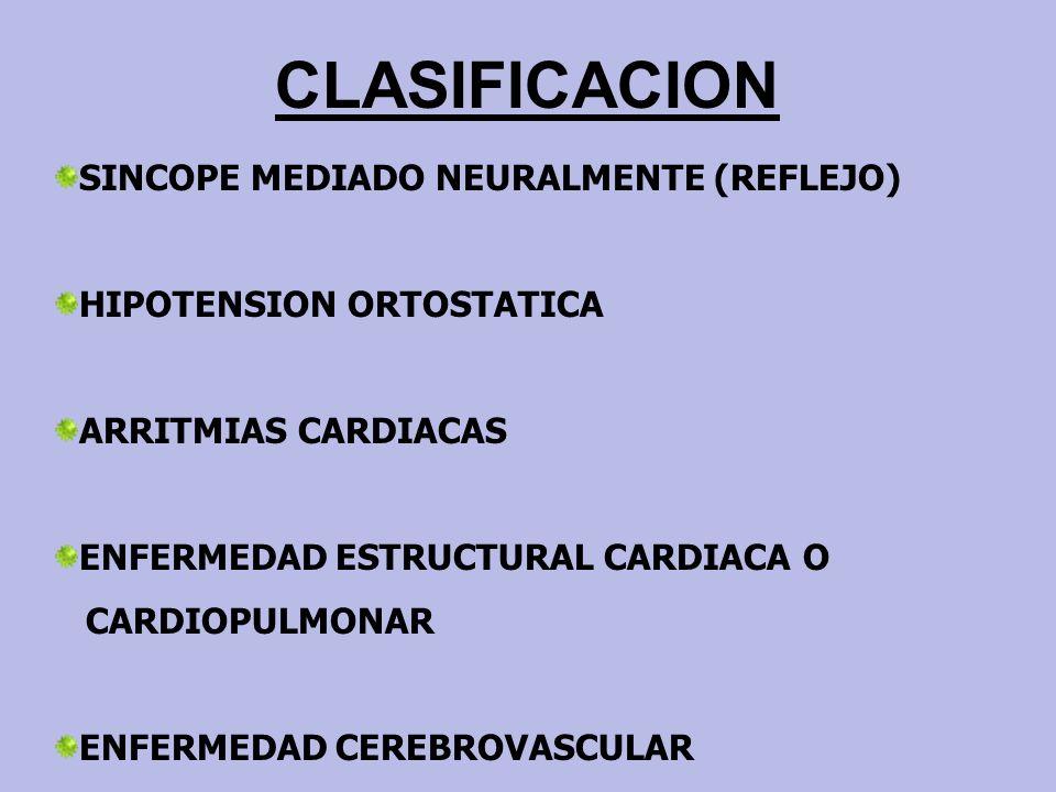 CLASIFICACION SINCOPE MEDIADO NEURALMENTE (REFLEJO)