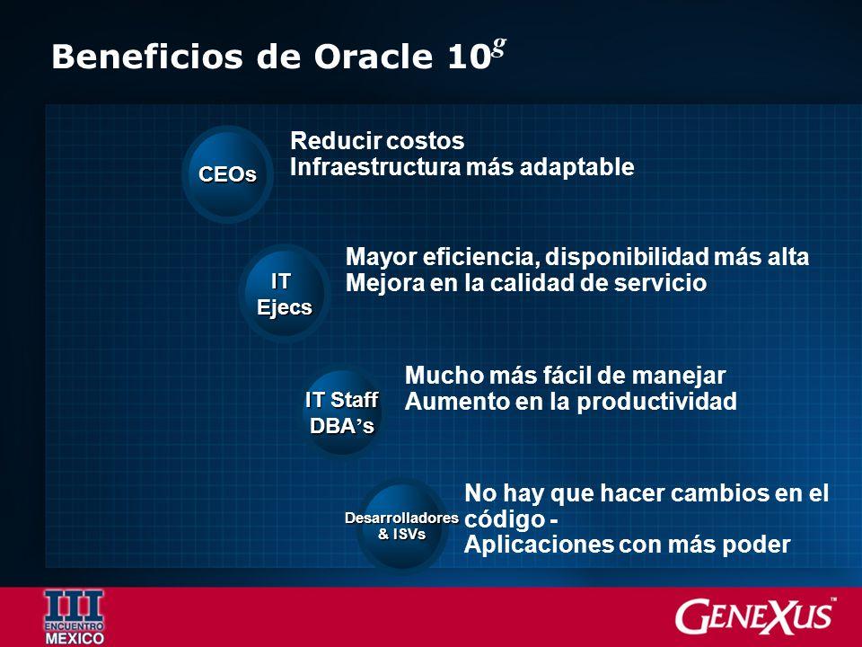 Beneficios de Oracle 10g Reducir costos Infraestructura más adaptable