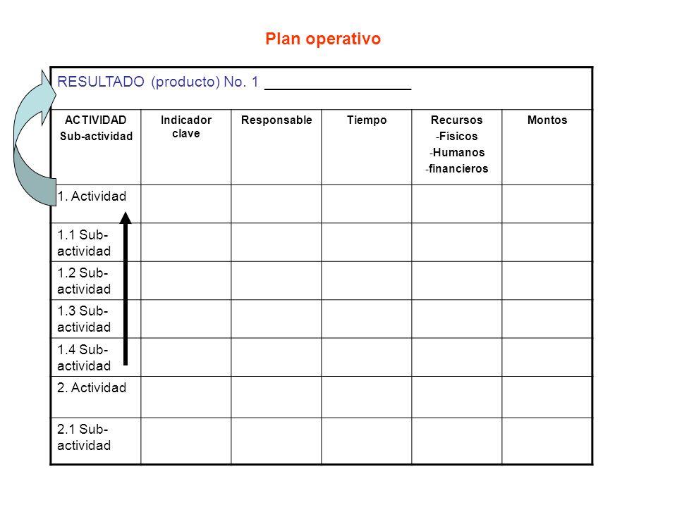Plan operativo RESULTADO (producto) No. 1 ________________