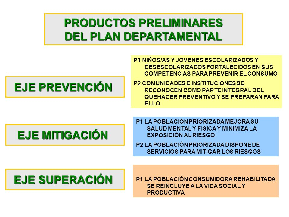 PRODUCTOS PRELIMINARES DEL PLAN DEPARTAMENTAL