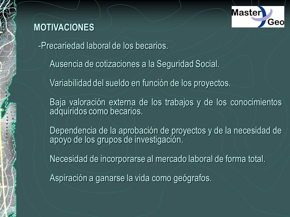 MOTIVACIONES -Precariedad laboral de los becarios. Ausencia de cotizaciones a la Seguridad Social.