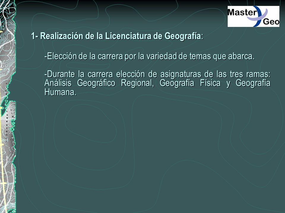 1- Realización de la Licenciatura de Geografía: