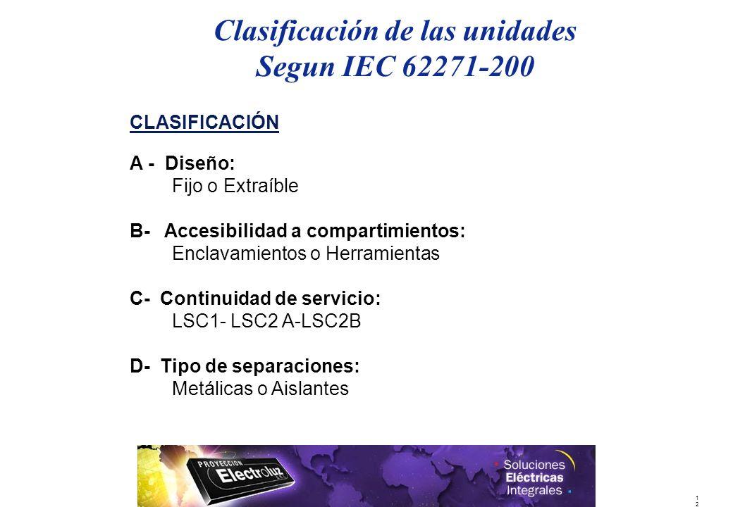 Clasificación de las unidades Segun IEC 62271-200