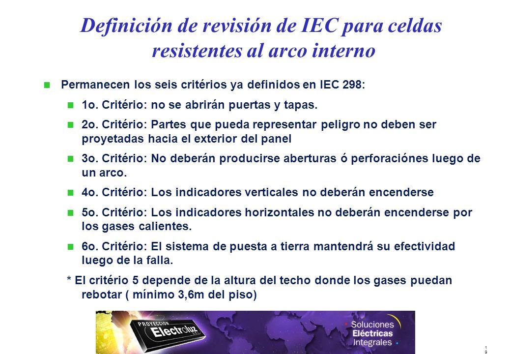 Definición de revisión de IEC para celdas resistentes al arco interno