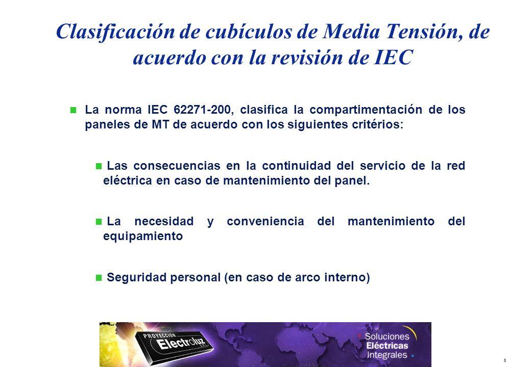 29/03/2017 Clasificación de cubículos de Media Tensión, de acuerdo con la revisión de IEC.