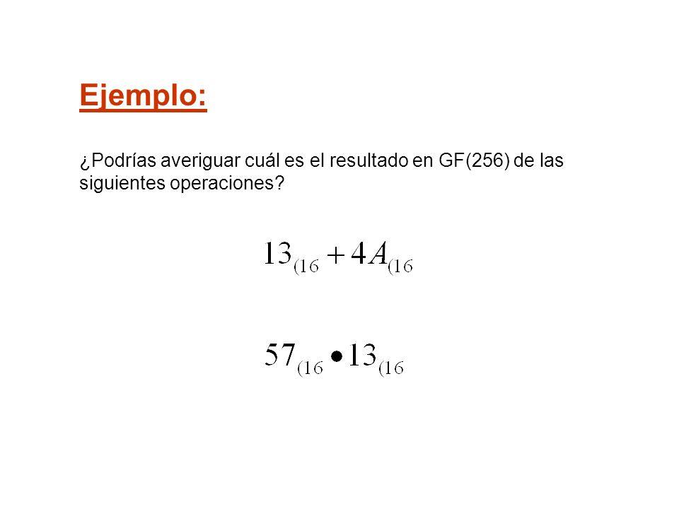 Ejemplo: ¿Podrías averiguar cuál es el resultado en GF(256) de las siguientes operaciones