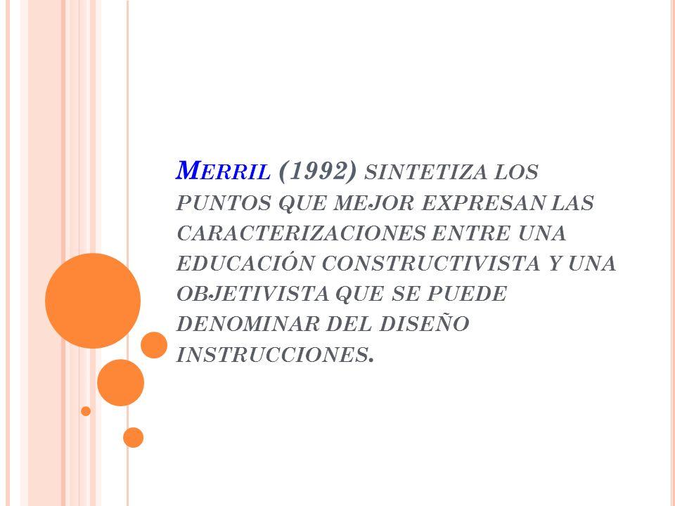 Merril (1992) sintetiza los puntos que mejor expresan las caracterizaciones entre una educación constructivista y una objetivista que se puede denominar del diseño instrucciones.