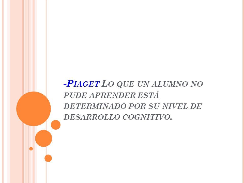-Piaget Lo que un alumno no pude aprender está determinado por su nivel de desarrollo cognitivo.
