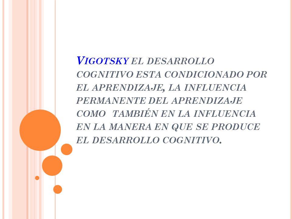 Vigotsky el desarrollo cognitivo esta condicionado por el aprendizaje, la influencia permanente del aprendizaje como también en la influencia en la manera en que se produce el desarrollo cognitivo.
