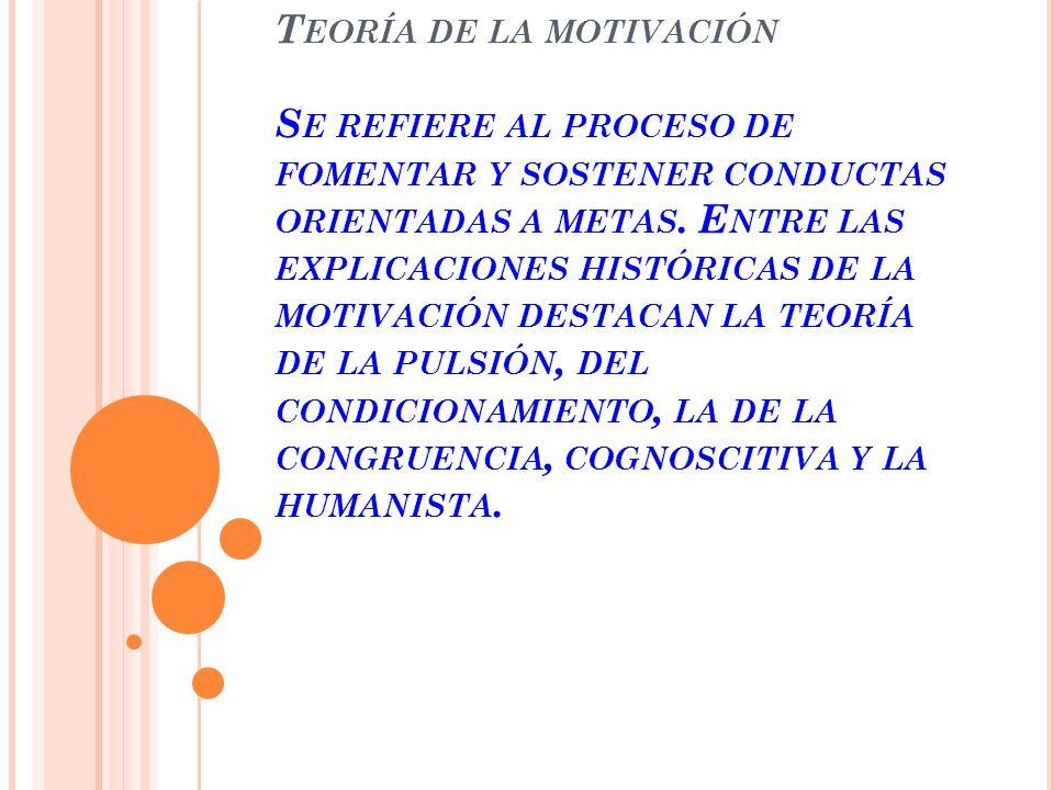 Teoría de la motivación Se refiere al proceso de fomentar y sostener conductas orientadas a metas.