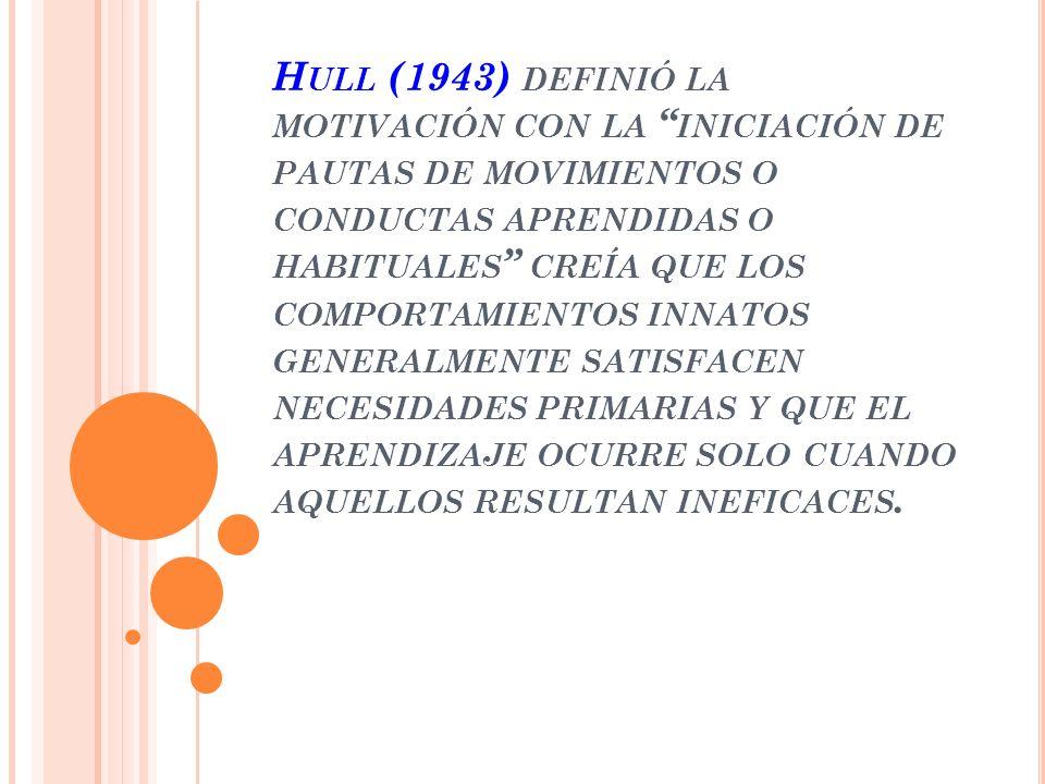 Hull (1943) definió la motivación con la iniciación de pautas de movimientos o conductas aprendidas o habituales creía que los comportamientos innatos generalmente satisfacen necesidades primarias y que el aprendizaje ocurre solo cuando aquellos resultan ineficaces.