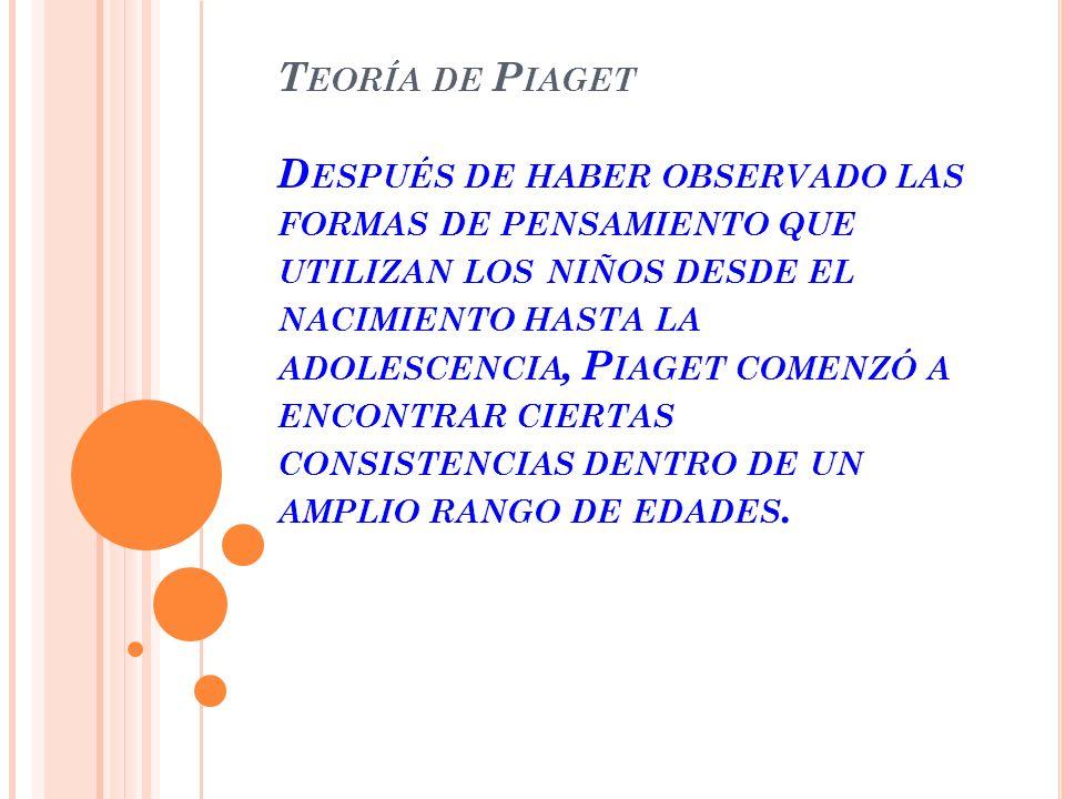 Teoría de Piaget Después de haber observado las formas de pensamiento que utilizan los niños desde el nacimiento hasta la adolescencia, Piaget comenzó a encontrar ciertas consistencias dentro de un amplio rango de edades.