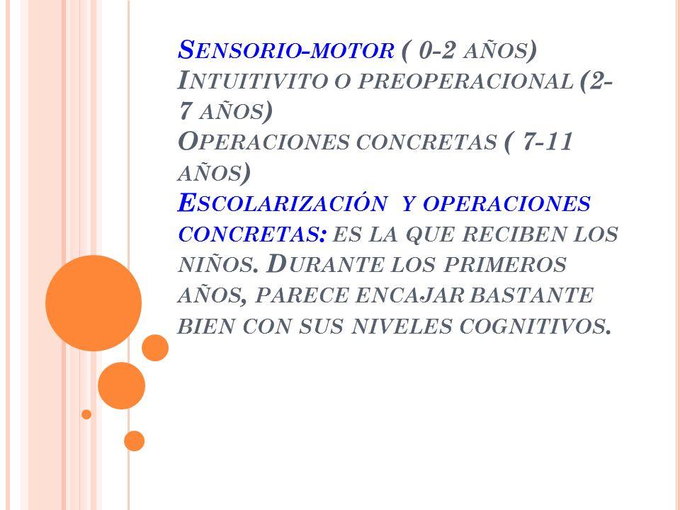 Sensorio-motor ( 0-2 años) Intuitivito o preoperacional (2- 7 años) Operaciones concretas ( 7-11 años) Escolarización y operaciones concretas: es la que reciben los niños.