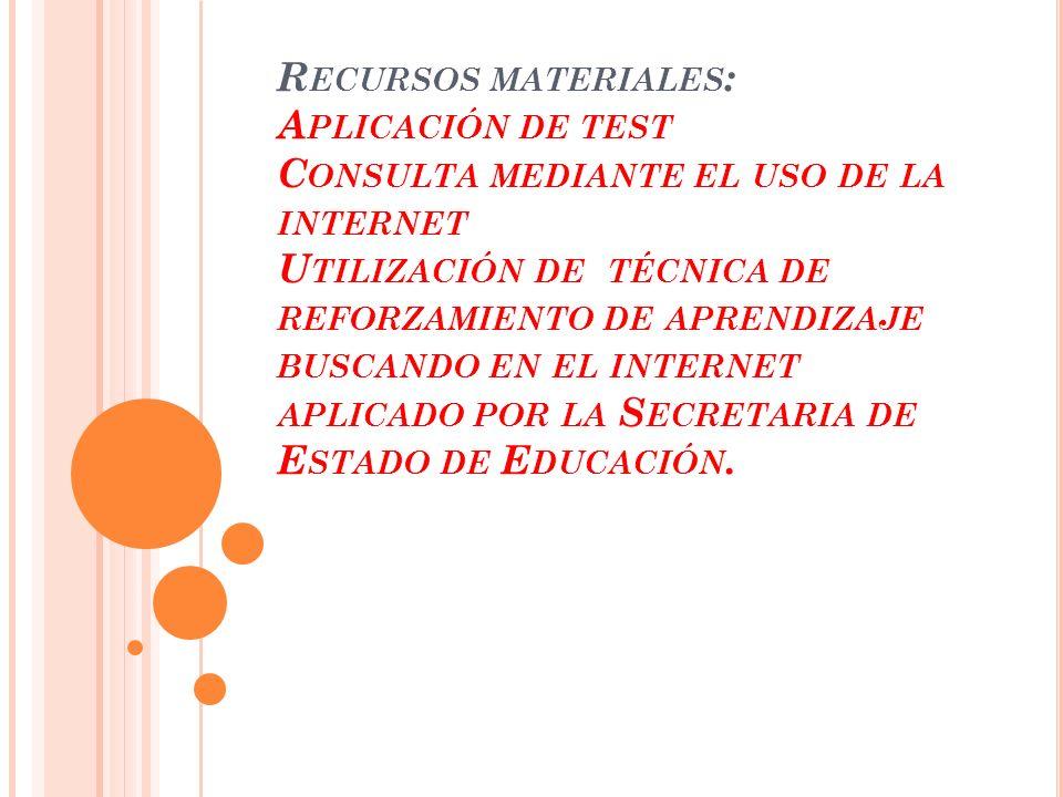 Recursos materiales: Aplicación de test Consulta mediante el uso de la internet Utilización de técnica de reforzamiento de aprendizaje buscando en el internet aplicado por la Secretaria de Estado de Educación.