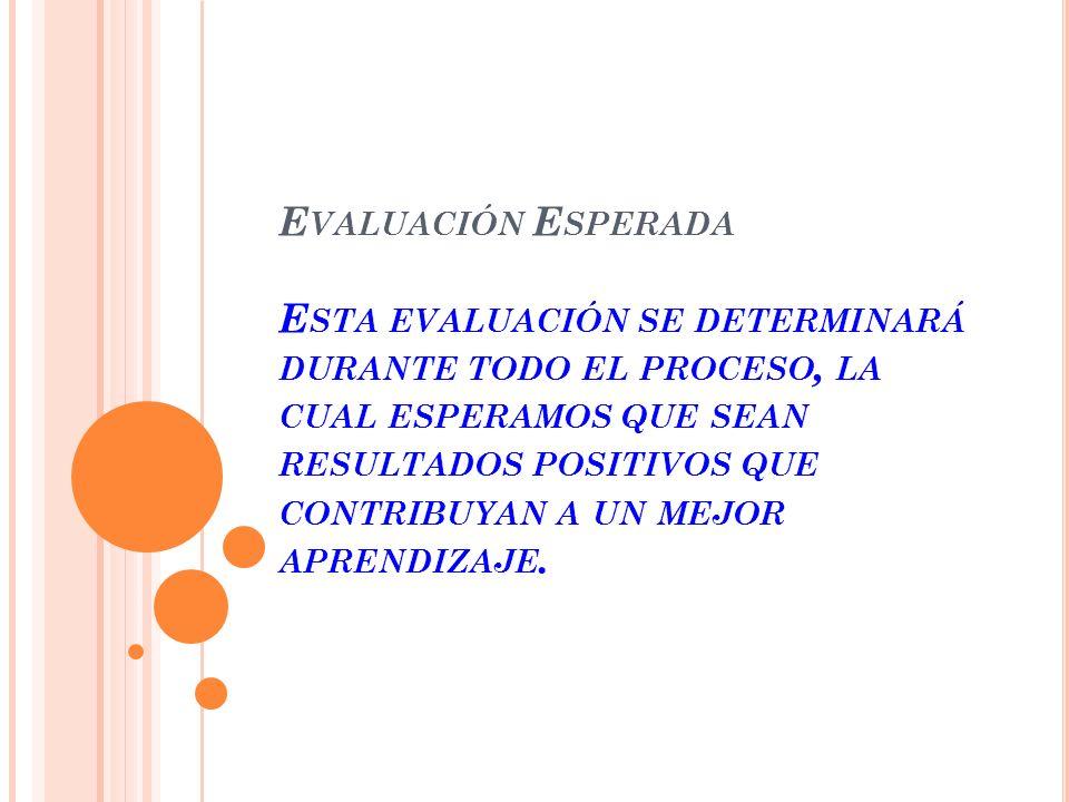 Evaluación Esperada Esta evaluación se determinará durante todo el proceso, la cual esperamos que sean resultados positivos que contribuyan a un mejor aprendizaje.
