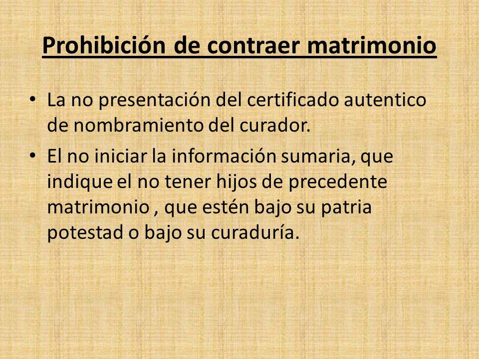 Prohibición de contraer matrimonio