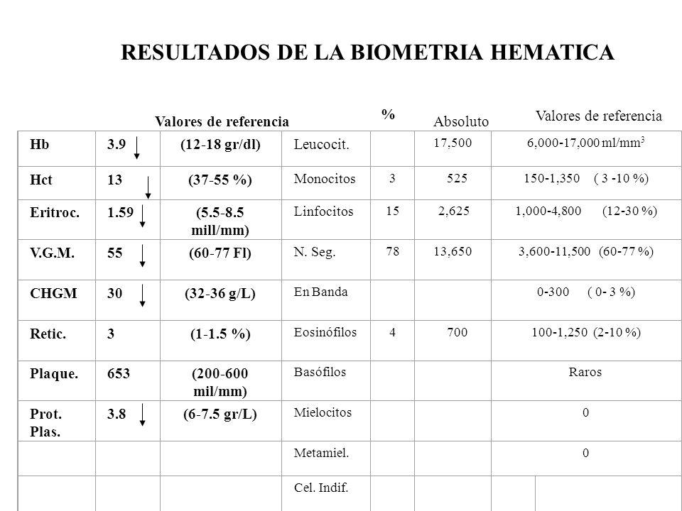 RESULTADOS DE LA BIOMETRIA HEMATICA
