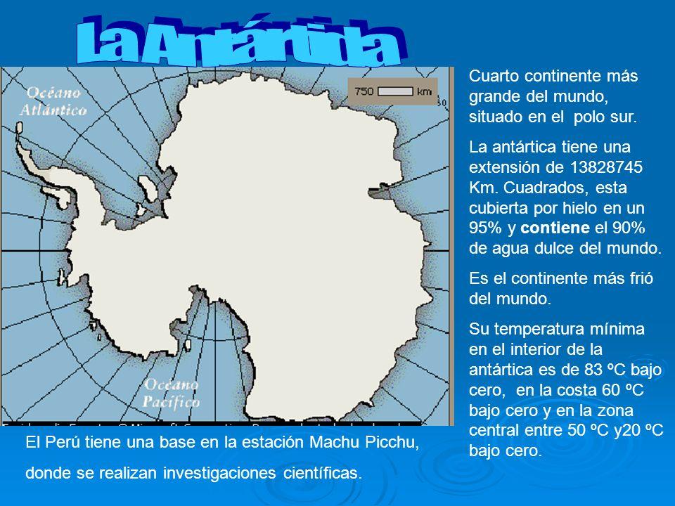 La Antártida Cuarto continente más grande del mundo, situado en el polo sur.