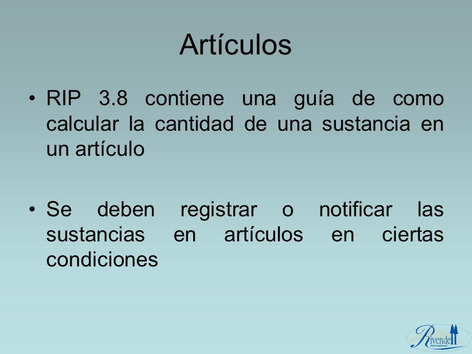 Artículos RIP 3.8 contiene una guía de como calcular la cantidad de una sustancia en un artículo.