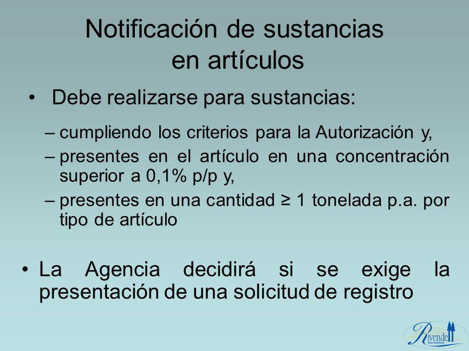 Notificación de sustancias en artículos