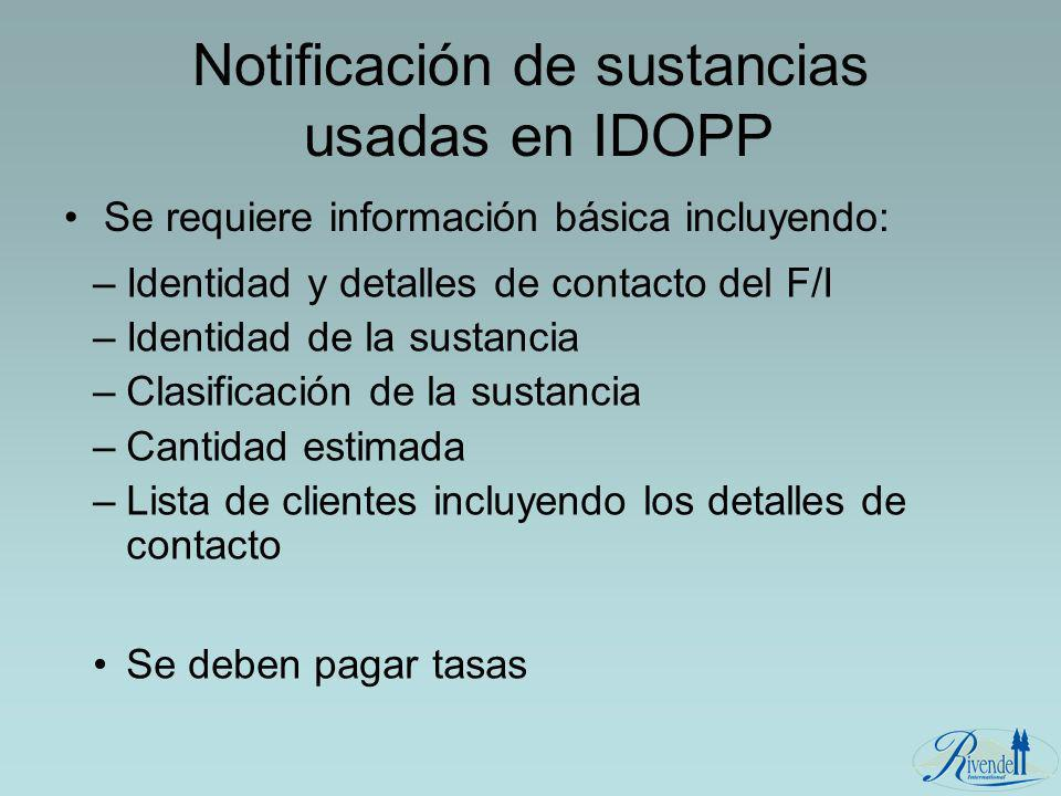 Notificación de sustancias usadas en IDOPP