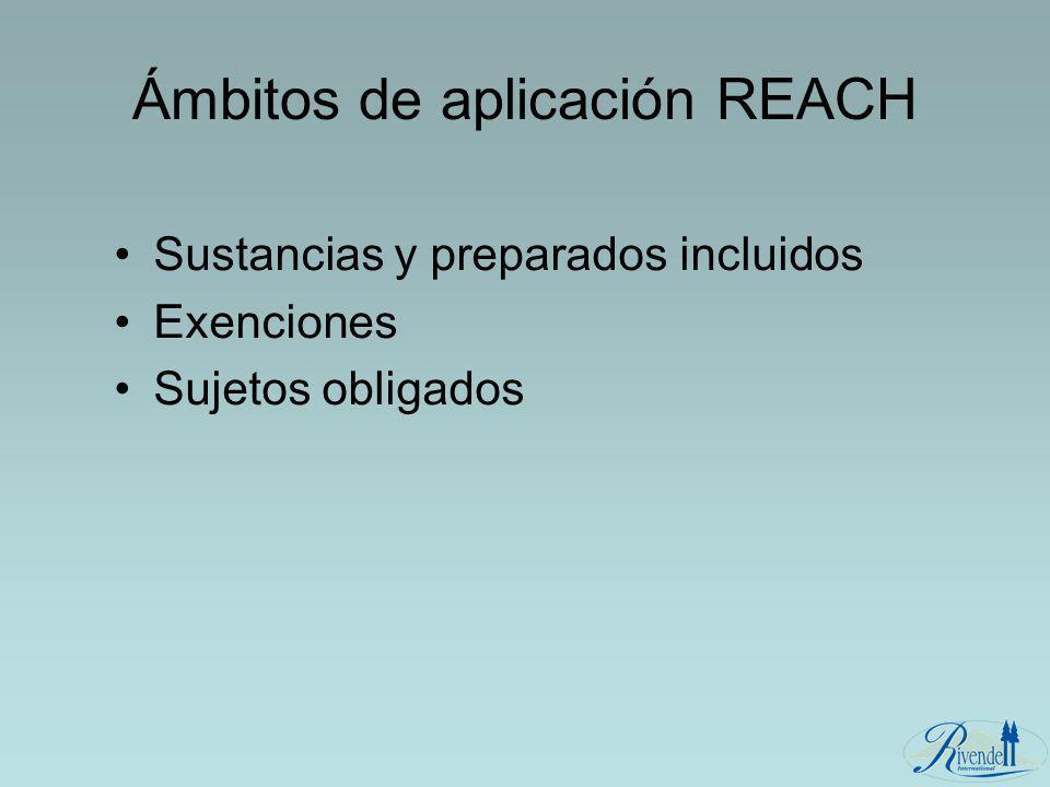 Ámbitos de aplicación REACH