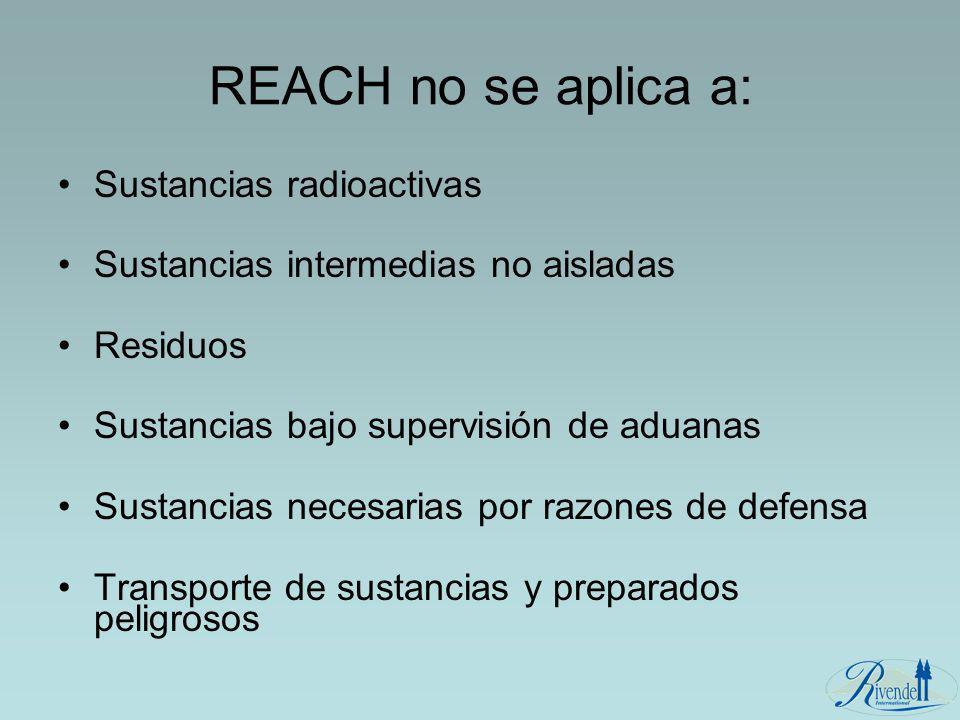 REACH no se aplica a: Sustancias radioactivas