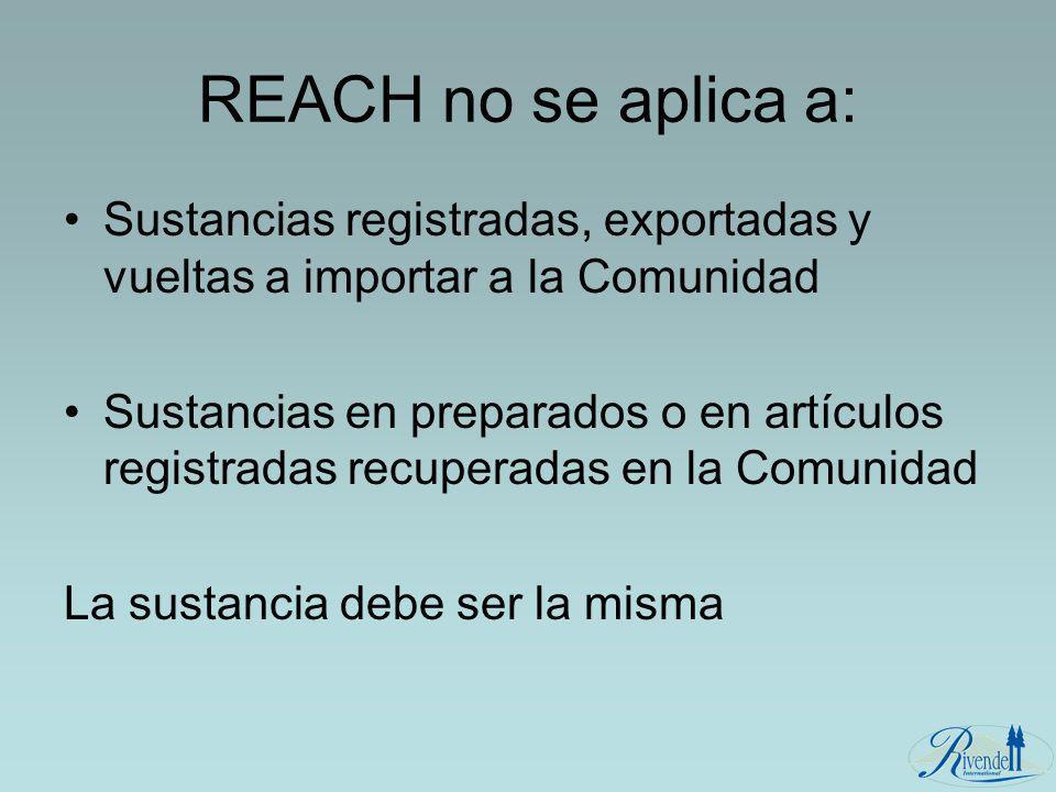 REACH no se aplica a: Sustancias registradas, exportadas y vueltas a importar a la Comunidad.
