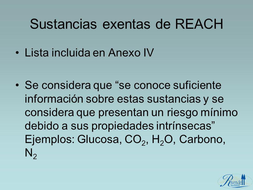 Sustancias exentas de REACH