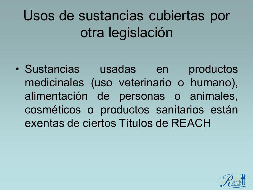 Usos de sustancias cubiertas por otra legislación