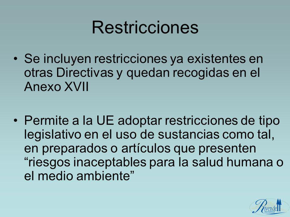 Restricciones Se incluyen restricciones ya existentes en otras Directivas y quedan recogidas en el Anexo XVII.