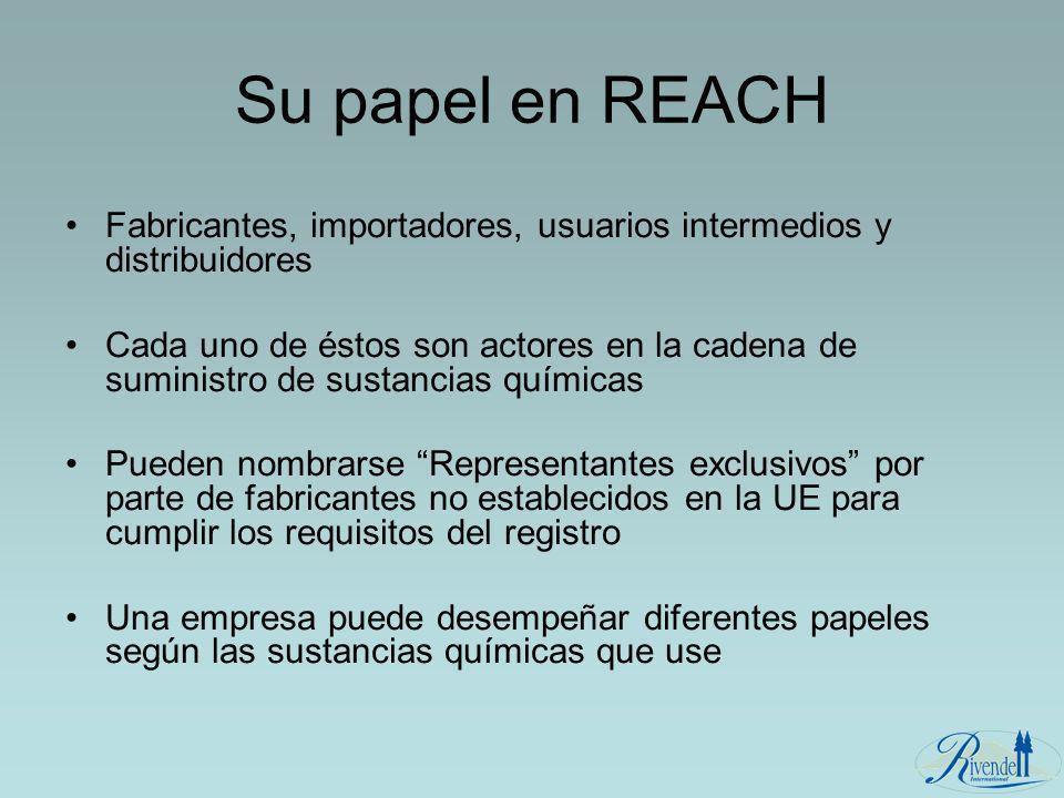 Su papel en REACH Fabricantes, importadores, usuarios intermedios y distribuidores.