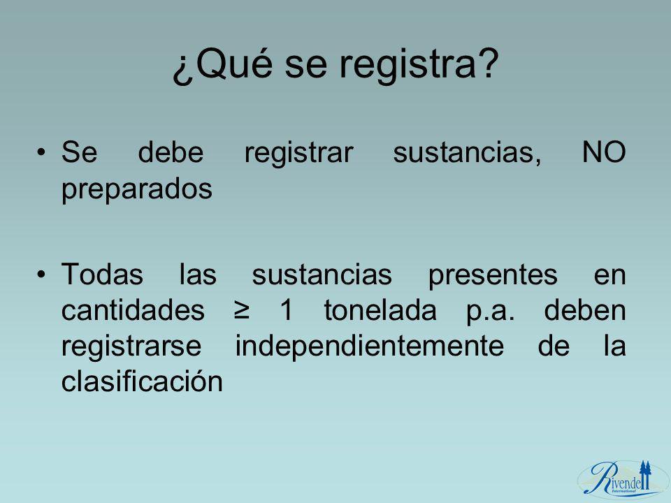 ¿Qué se registra Se debe registrar sustancias, NO preparados