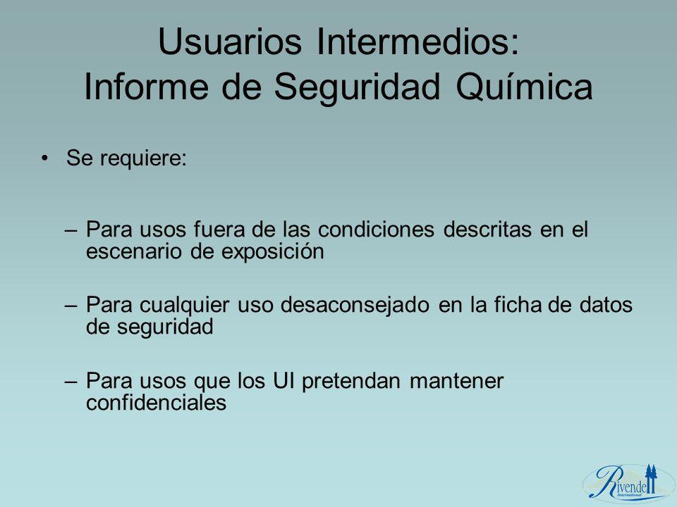 Usuarios Intermedios: Informe de Seguridad Química