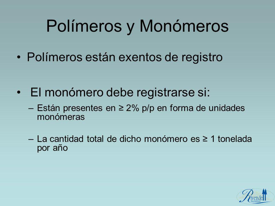 Polímeros y Monómeros Polímeros están exentos de registro