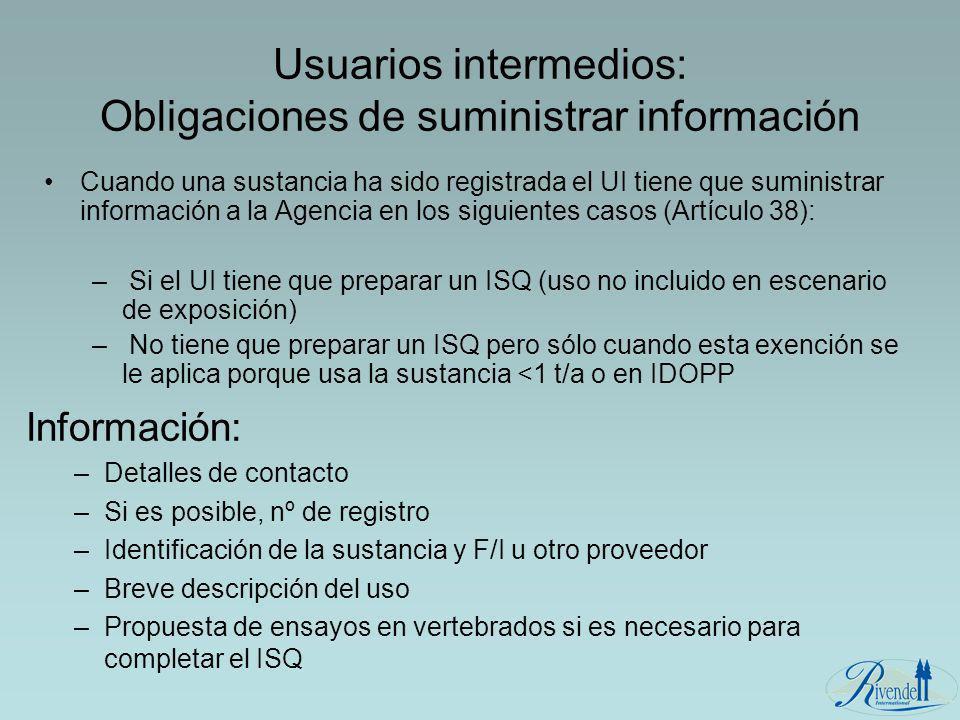 Usuarios intermedios: Obligaciones de suministrar información