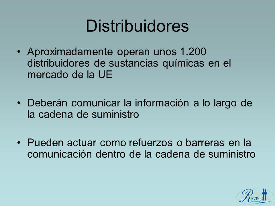 Distribuidores Aproximadamente operan unos 1.200 distribuidores de sustancias químicas en el mercado de la UE.