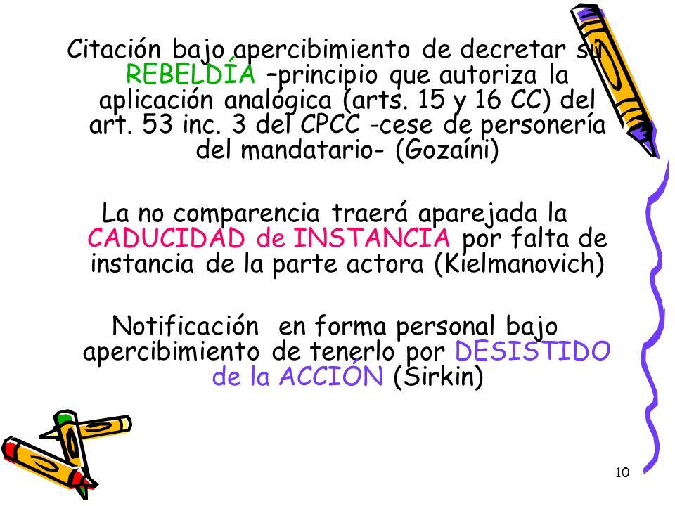 Citación bajo apercibimiento de decretar su REBELDÍA –principio que autoriza la aplicación analógica (arts. 15 y 16 CC) del art. 53 inc. 3 del CPCC -cese de personería del mandatario- (Gozaíni)