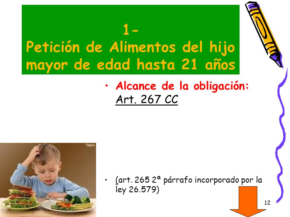 1- Petición de Alimentos del hijo mayor de edad hasta 21 años