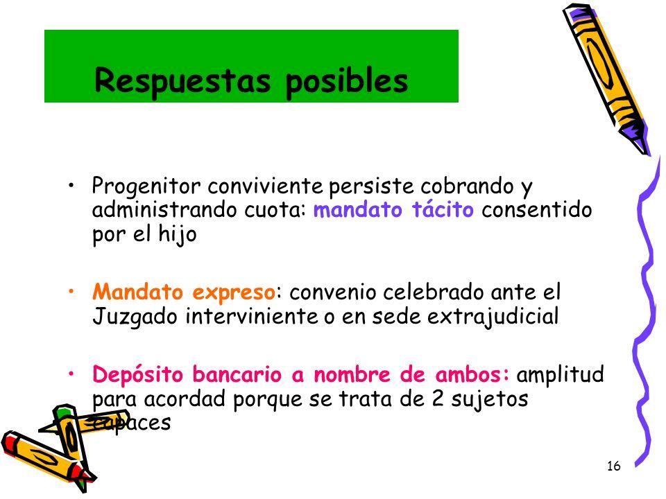 Respuestas posibles Progenitor conviviente persiste cobrando y administrando cuota: mandato tácito consentido por el hijo.