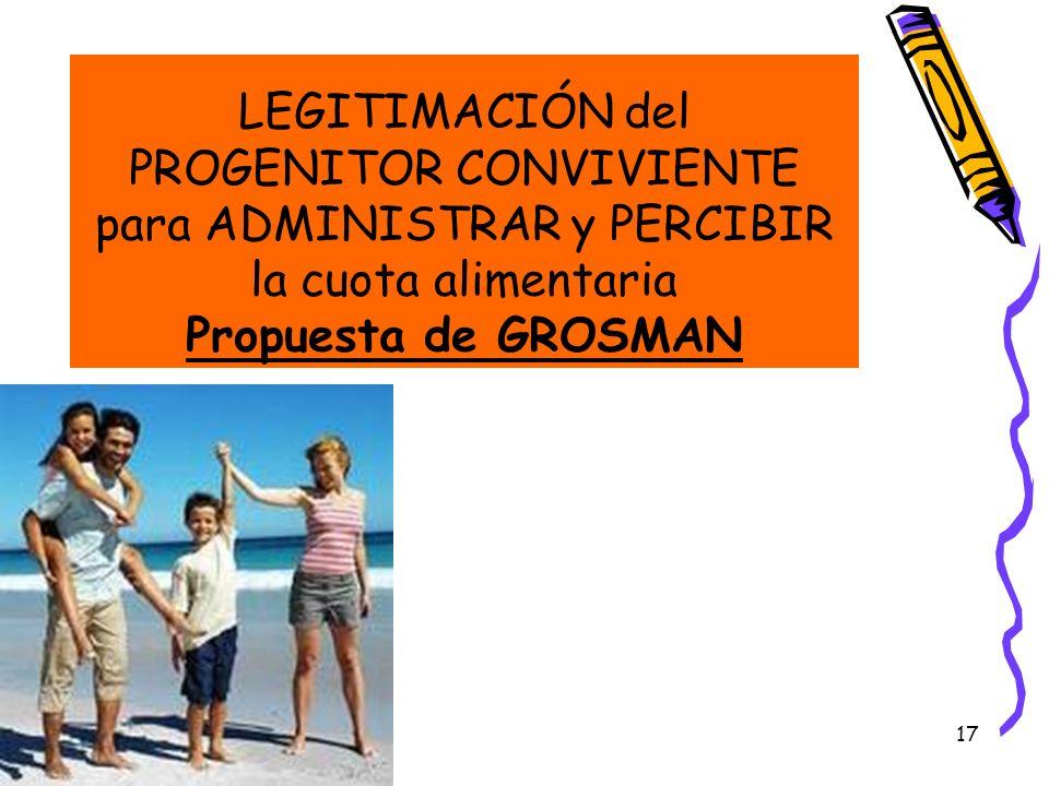 LEGITIMACIÓN del PROGENITOR CONVIVIENTE para ADMINISTRAR y PERCIBIR la cuota alimentaria Propuesta de GROSMAN