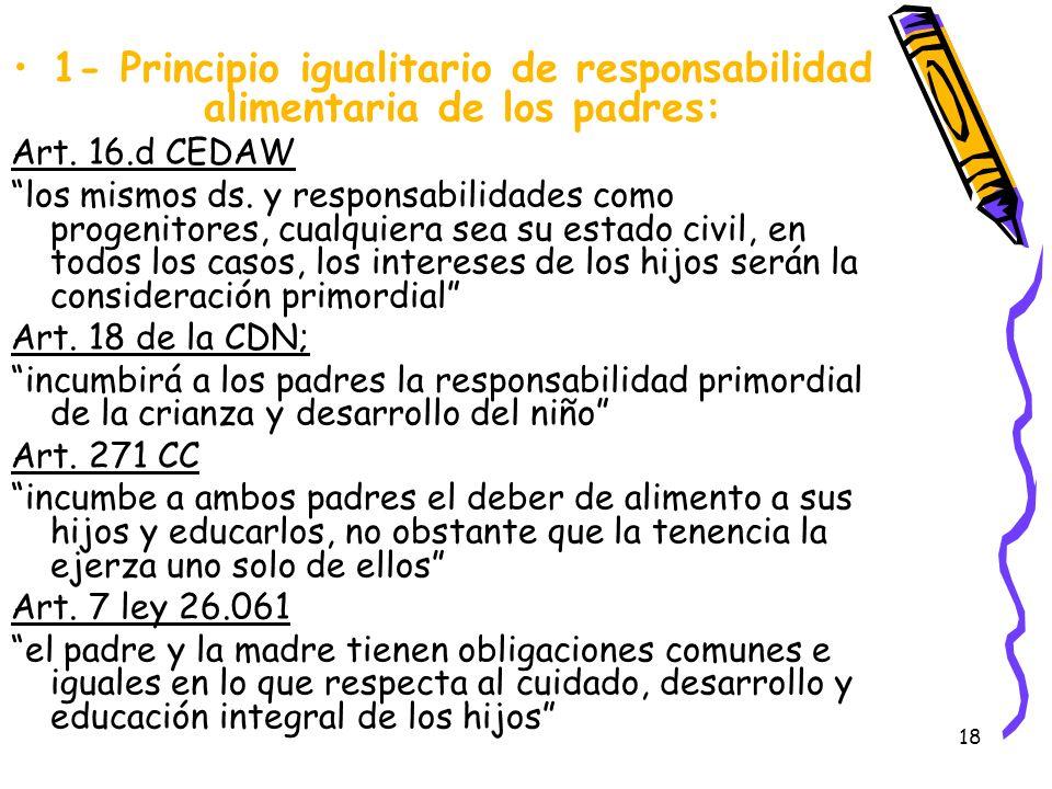 1- Principio igualitario de responsabilidad alimentaria de los padres: