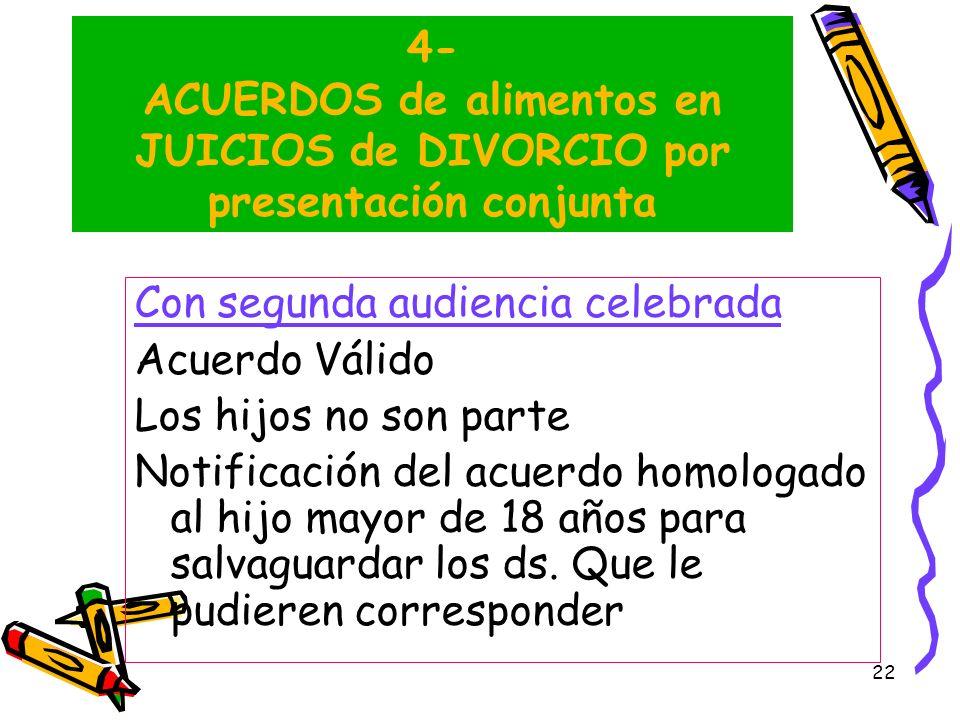 4- ACUERDOS de alimentos en JUICIOS de DIVORCIO por presentación conjunta