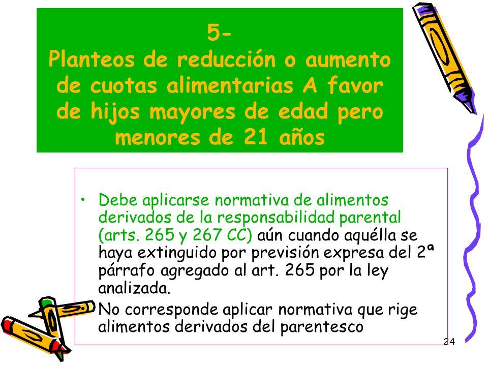 5- Planteos de reducción o aumento de cuotas alimentarias A favor de hijos mayores de edad pero menores de 21 años