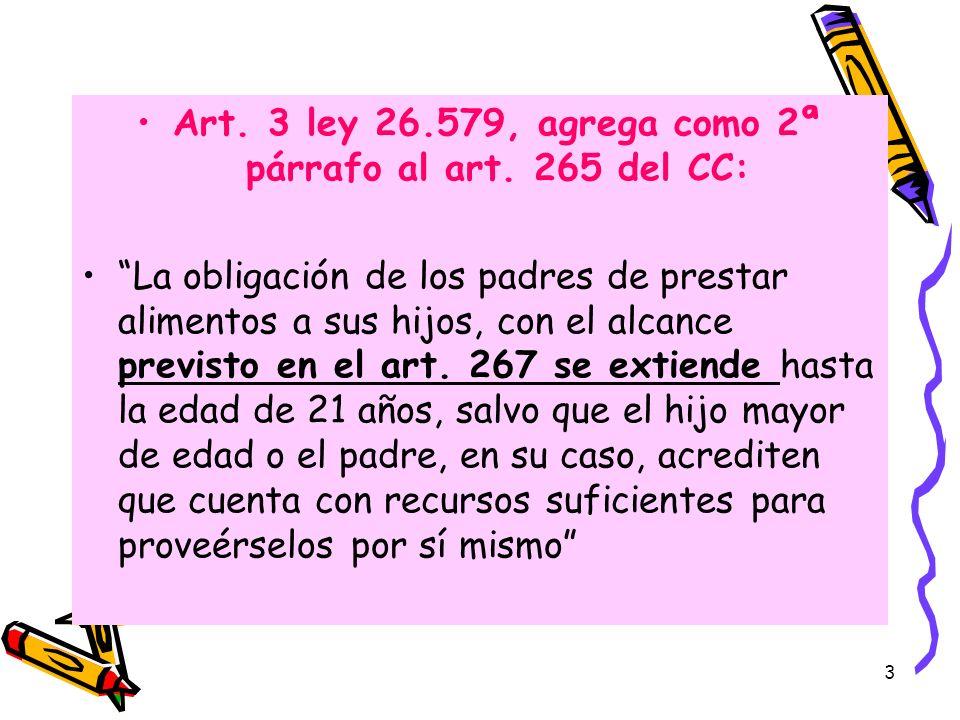 Art. 3 ley 26.579, agrega como 2ª párrafo al art. 265 del CC: