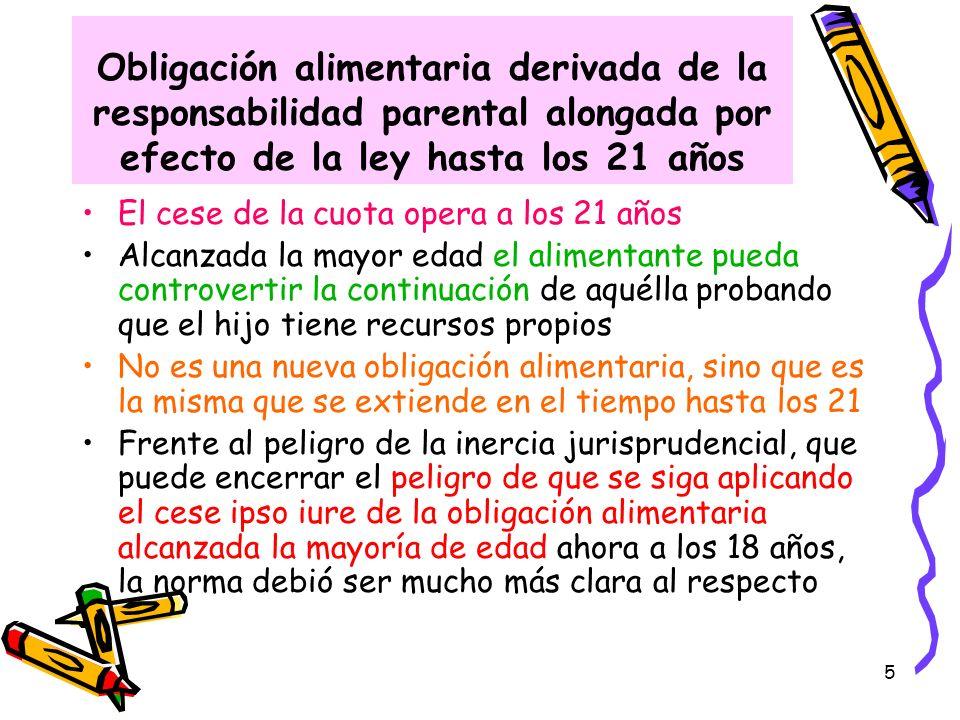 Obligación alimentaria derivada de la responsabilidad parental alongada por efecto de la ley hasta los 21 años